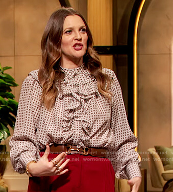 Drew's white polka dot ruffle blouse on The Drew Barrymore Show