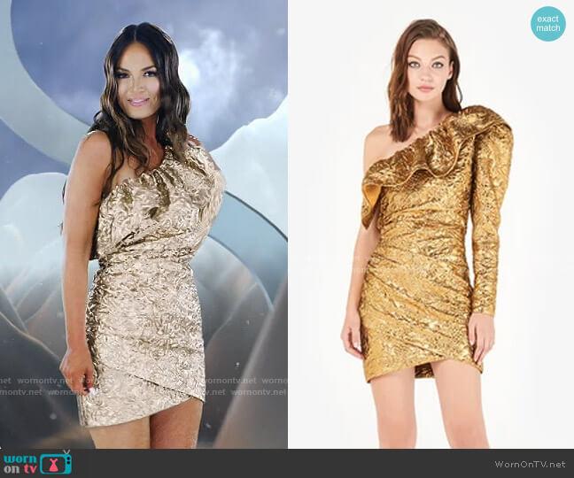 Ruffled Metallic Jacquard Mini Dress by Dundas worn by Lisa Barlow  on The Real Housewives of Salt Lake City