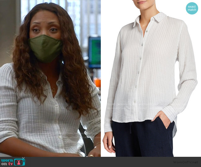Striped Button Down Cotton Shirt by Eileen Fisher worn by Danny James (Jaime Lee Kirchner) on Bull