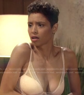 Elena's beige lace bra on The Young and the Restless
