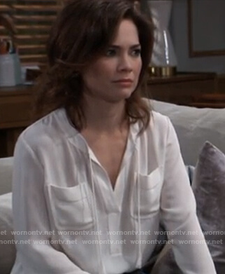Elizabeth's white tassel tie top on General Hospital