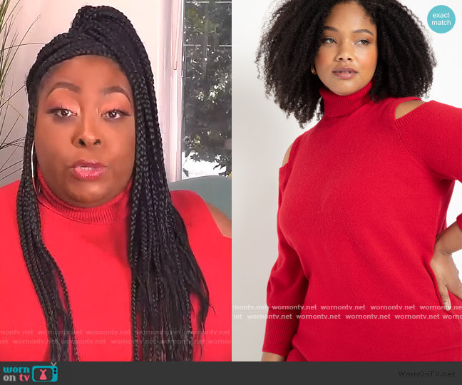 Cold Shoulder Turtleneck Sweater by Eloquii worn by Loni Love  on The Real