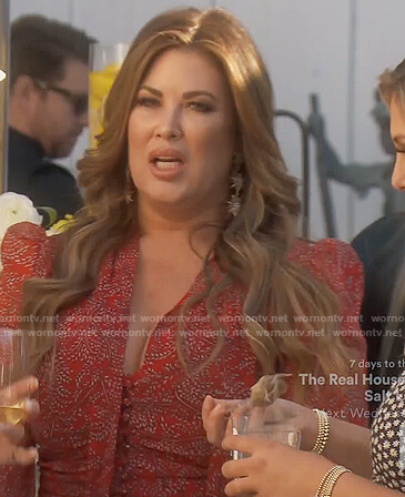 Emily's red floral tie neck blouse on The Real Housewives of Orange County