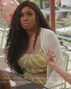 Wendy's neon zebra stripe top and skirt on The Real Housewives of Potomac