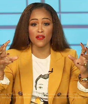 Eve's yellow double breasted blazer on The Talk
