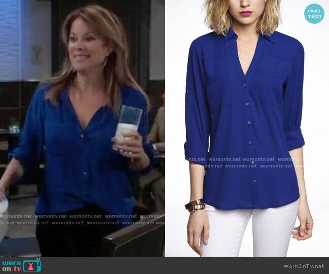 Express Slim Fit Portofino Shirt worn by Alexis Davis (Nancy Lee Grahn) on General Hospital