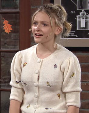 Faith's white bird embroidered cardigan on The Young and the Restless