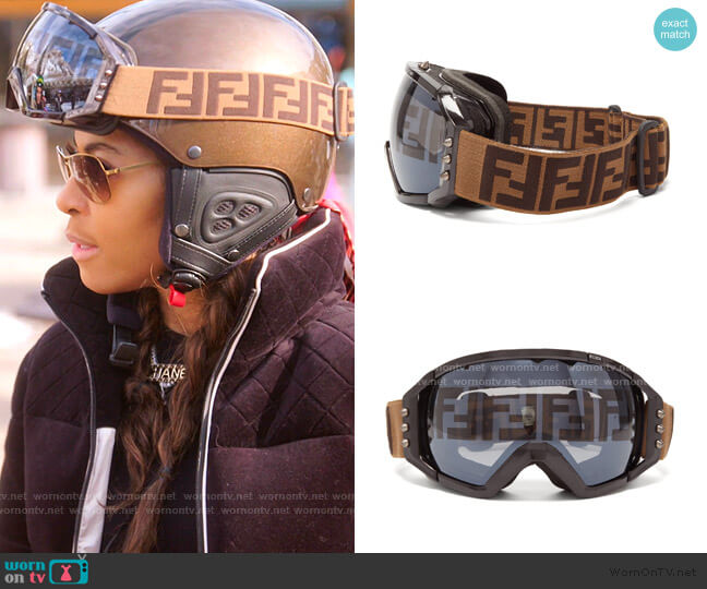 Spike-Stud and FF-Jacquard Strap Ski Goggles by Fendi worn by Mary Cosby  on The Real Housewives of Salt Lake City