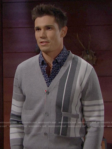 Finn's grey striped cardigan on The Bold and the Beautiful