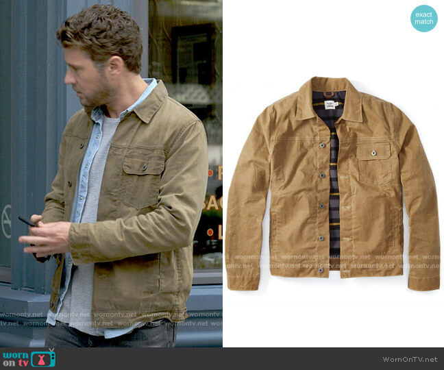 Flint and Tinder Flannel-lined Waxed Trucker Jacket worn by Cody Hoyt (Ryan Phillippe) on Big Sky