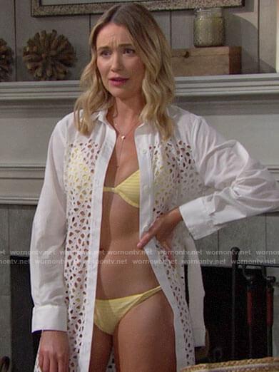Flo's yellow bikini on The Bold and the Beautiful