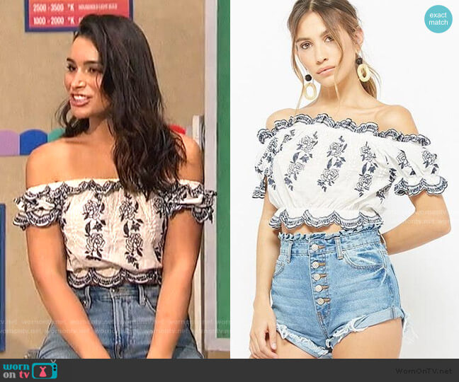 Embroidered Off-the-Shoulder Crop Top by Forever 21 worn by Ashley Laconetti on The Bachelorette