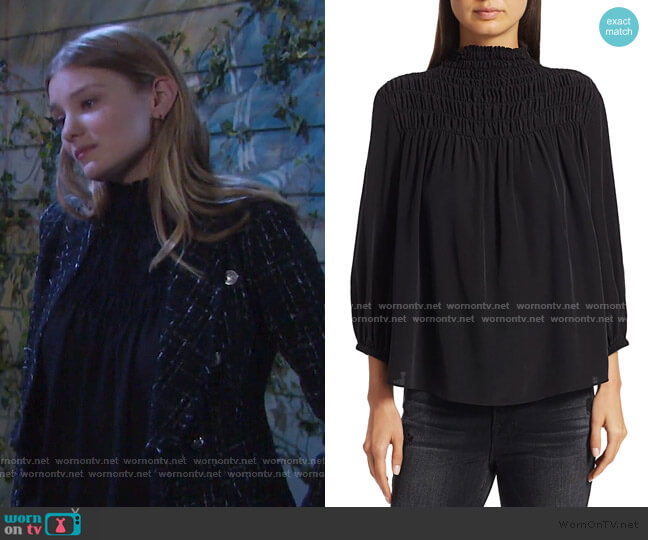 Smocked Three-Quarter Sleeve Silk Blouse by Frame worn by Alice Caroline Horton (Lindsay Arnold) on Days of our Lives