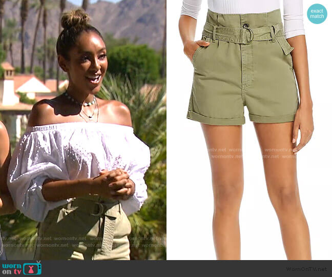 Safari Belted Shorts by Frame worn by Tayshia Adams  on The Bachelorette