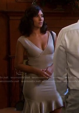 Gabi's beige ruffle hem knit dress on Days of our Lives