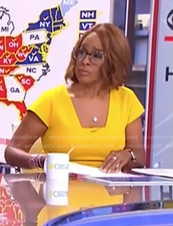 Gayle's yellow cap sleeve dress on CBS This Morning