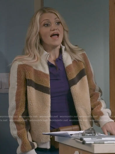 Gina's brown striped teddy jacket on B Positive