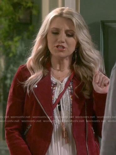 Gina's red suede moto jacket on B Positive