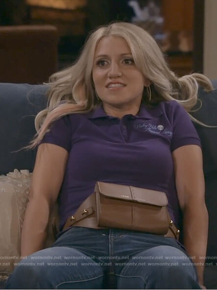 Gina's tan belt bag on B Positive