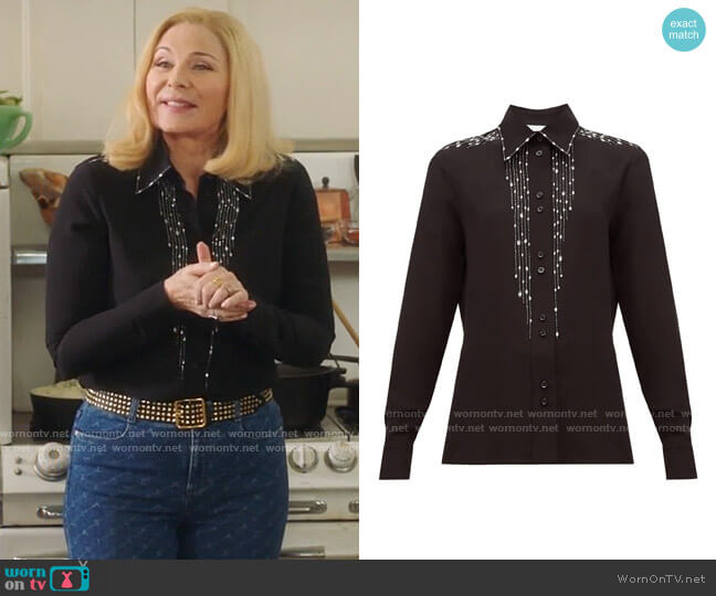 Givenchy Crystal-embellished silk-crepe blouse worn by Margaret Monreaux (Kim Cattrall) on Filthy Rich