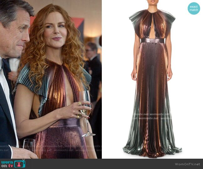 Givenchy Metallic-Ombre Plisse Cutout Gown worn by Grace Fraser (Nicole Kidman) on The Undoing
