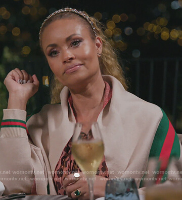 Robyn's pink metallic stripe tee on The Real Housewives of Potomac