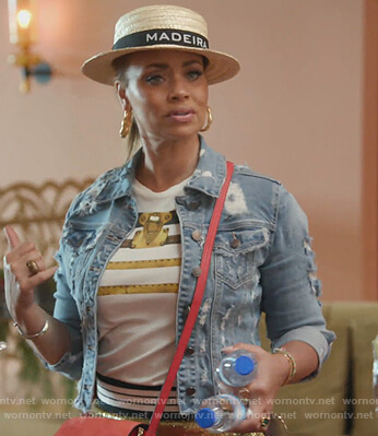 Gizelle's denim distressed jacket on The Real Housewives of Potomac