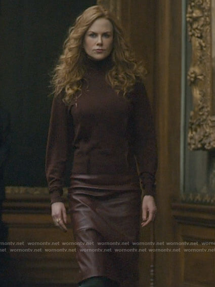 Grace's burgundy lace panel sweater and leather skirt on The Undoing