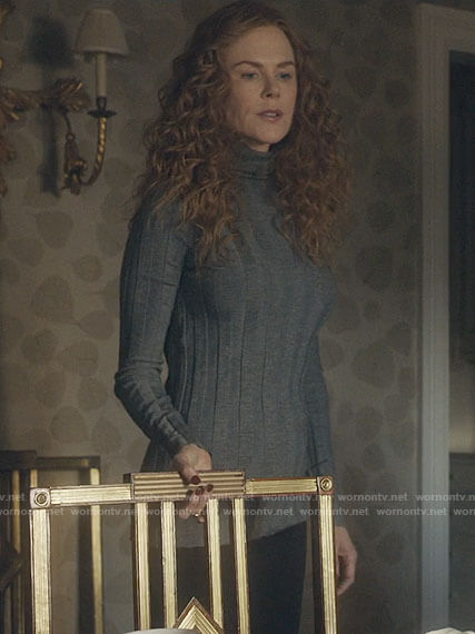 Grace's grey ribbed turtleneck sweater on The Undoing