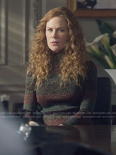 Grace's metallic striped turtleneck sweater on The Undoing