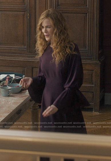 Grace's purple bell sleeve dress on The Undoing