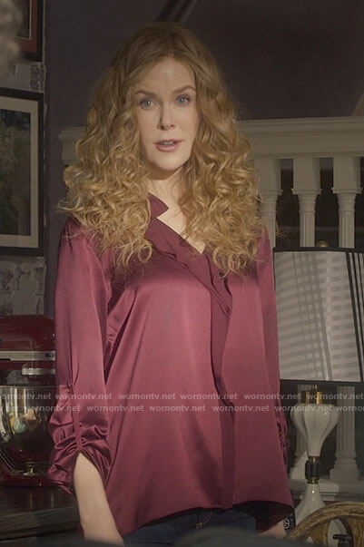 Grace's red front ruffle blouse on The Undoing