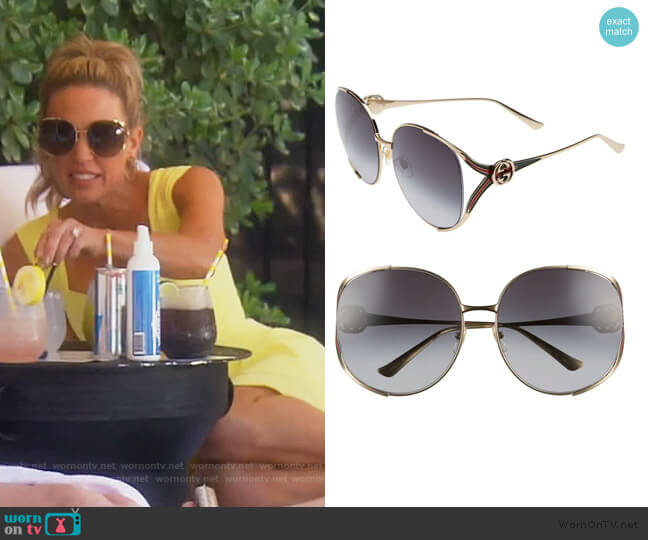 63mm Gradient Oversize Open Temple Round Sunglasses by Gucci worn by Braunwyn Windham-Burke  on The Real Housewives of Orange County