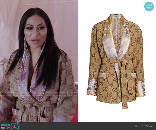 GG Jacquard Linen Oversized Robe Jacket by Gucci worn by Jen Shah  on The Real Housewives of Salt Lake City