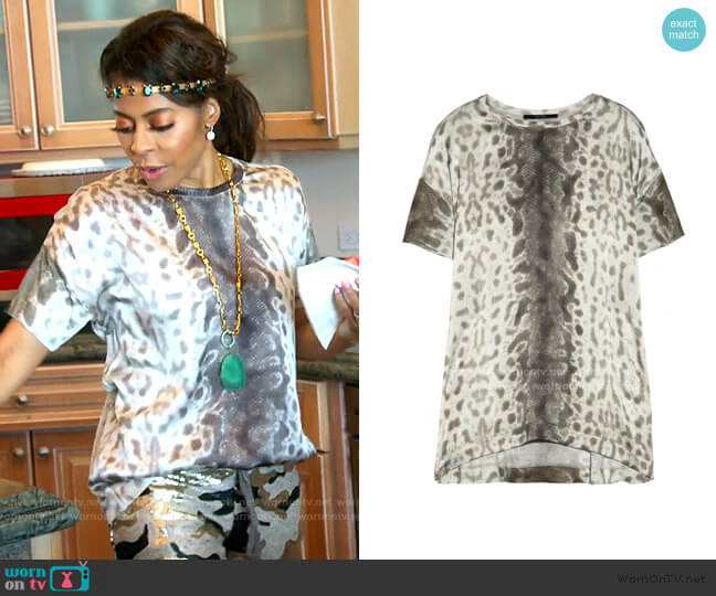 Snake-Print Silk T-Shirt by Gucci worn by Mary Cosby  on The Real Housewives of Salt Lake City