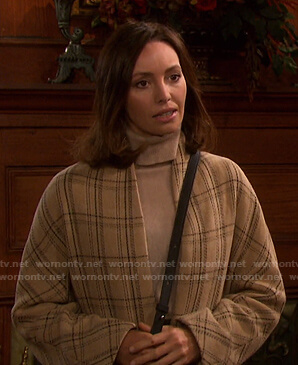 Gwen's beige plaid collarless coat on Days of our Lives