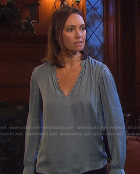 Gwen's blue satin blouse on Days of our Lives