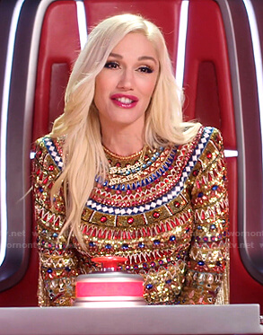 Gwen's jewel embellished long sleeve top on The Voice