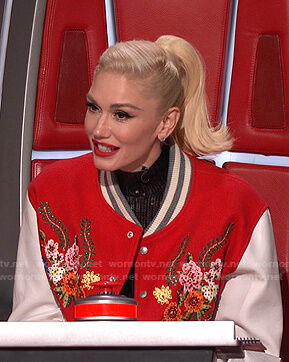 Gwen's red floral embroidered bomber jacket on The Voice