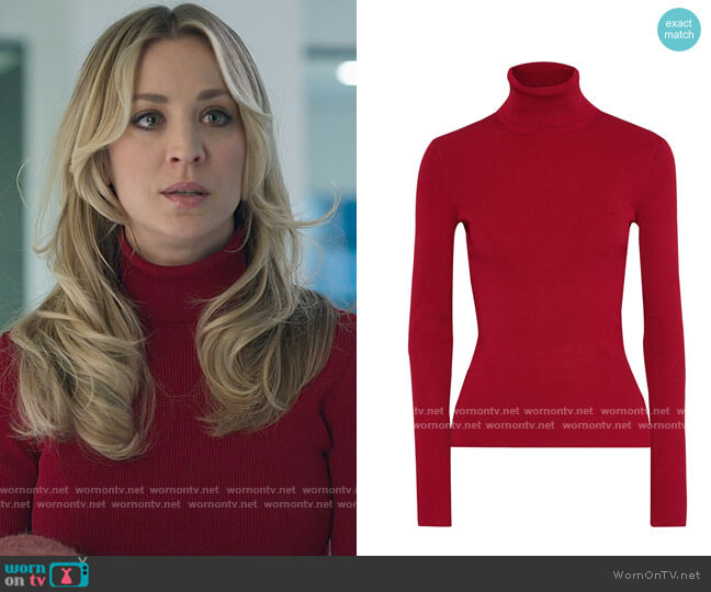 Helmut Lang Ribbed-knit turtleneck top worn by Cassie Bowden (Kaley Cuoco) on The Flight Attendant