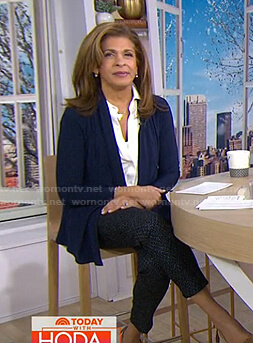 Hoda's navy draped cardigan on Today