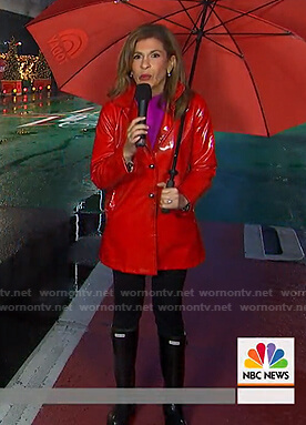 Hoda's red raincoat and rainboots on Today