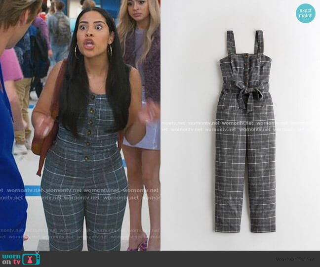 Plaid Jumpsuit by Hollister worn by Daisy (Haskiri Velazquez) on Saved By The Bell