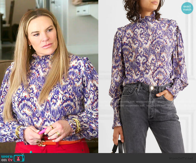 Yoshi Printed Blouse by Isabel Marant worn by Heather Gay  on The Real Housewives of Salt Lake City