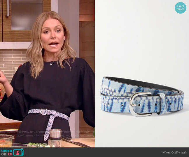 Zap Tie-Dyed Suede Belt by Isabel Marant  worn by Kelly Ripa  on Live with Kelly & Ryan