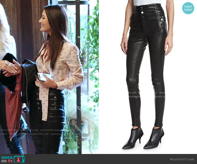 Natasha Sky High Leather Skinny Pants by J Brand worn by Lisa Barlow  on The Real Housewives of Salt Lake City