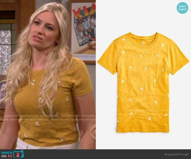 J. Crew Floral Embroidered T-shirt worn by Gemma (Beth Behrs) on The Neighborhood