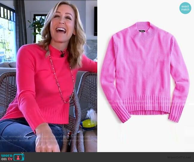 Cashmere Mockneck Sweater by J. Crew worn by Lara Spencer  on Good Morning America