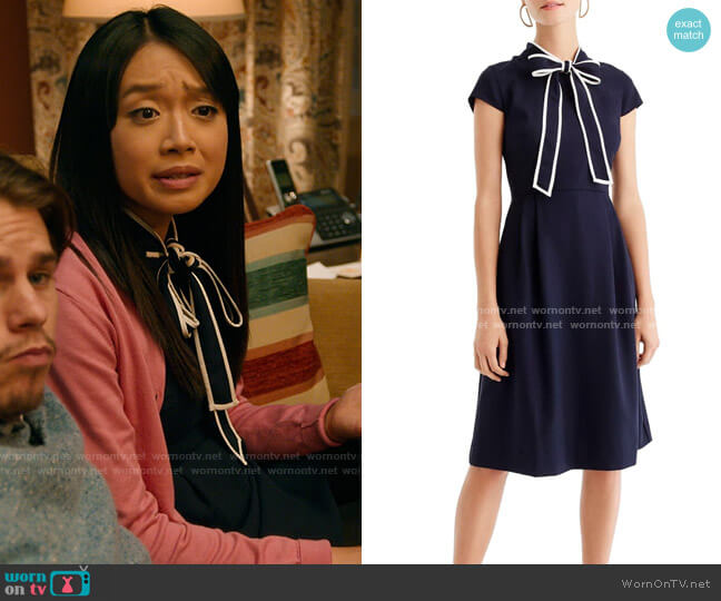 J. Crew Tie Neck Dress worn by Liz (Cynthy Wu) on Holidate (2020)