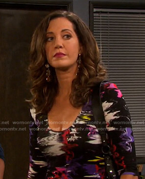 Jan's abstract print scoop neck dress on Days of our Lives